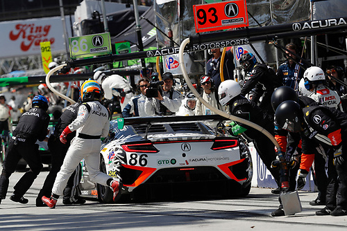 2017 IMSA WeatherTech SportsCar Championship<br /> BUBBA burger Sports Car Grand Prix at Long Beach<br /> Streets of Long Beach, CA USA<br /> Saturday 8 April 2017<br /> 86, Acura, Acura NSX, GTD, Oswaldo Negri Jr., Jeff Segal, pit stop<br /> World Copyright: Michael L. Levitt<br /> LAT Images<br /> ref: Digital Image levitt-0417-lbgp_08403