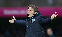 Wycombe Wanderers Manager Gareth Ainsworth disputes a decision during the Sky Bet League 2 match between Wycombe Wanderers and Portsmouth at Adams Park, High Wycombe, England on 28 November 2015. Photo by Andy Rowland.