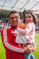 Nelsonon the pitch with team players and staff during a lap of honour after the Barclays Premier League match between Swansea City and Manchester City played at the Liberty Stadium, Swansea on the 15th of May  2016