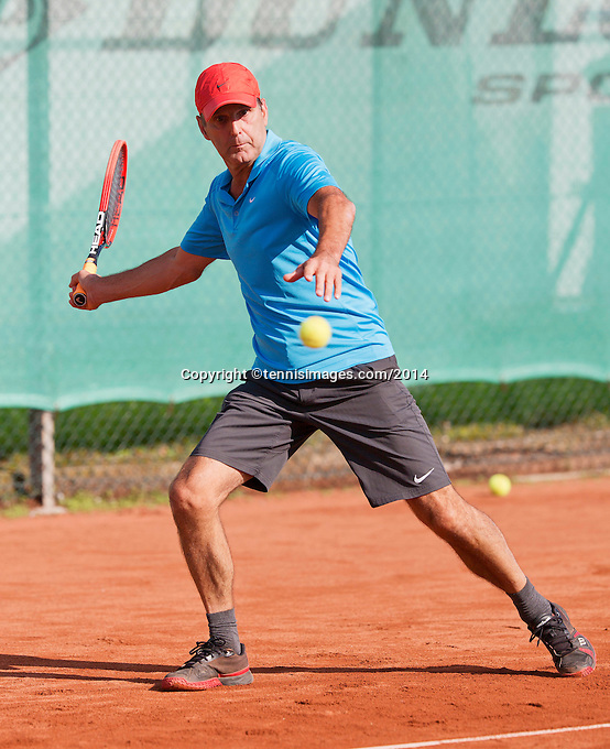 August 24, 2014, Netherlands, Amstelveen, De Kegel, National Veterans Championships, Jef Stevens (NED)<br /> Photo: Tennisimages/Henk Koster