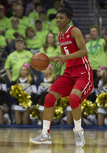 January 13, 2013:  Rutgers guard Precious Person (5) dribbles the ball during NCAA Basketball game action between the Notre Dame Fighting Irish and the Rutgers Scarlett Knights at Purcell Pavilion at the Joyce Center in South Bend, Indiana.  Notre Dame defeated Rutgers 71-46.