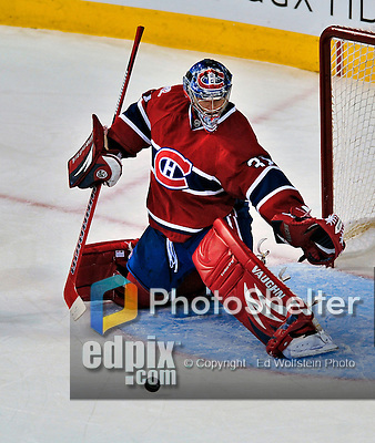 21 September 2009: Montreal Canadiens' goaltender Carey Price makes a first period save during a pre-season game against the Pittsburgh Penguins at the Bell Centre in Montreal, Quebec, Canada. The Canadiens edged out the defending Stanley Cup Champions 4-3. Mandatory Credit: Ed Wolfstein Photo