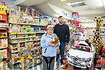 Christmas shopping  in Listowel Pictured shopper Pamela Dowling with Sean McGillicuddy, McGillicuddy's Toys