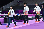(L-R) Ä Shogo Nonomura (JPN), Lin Chaopan, Xiao Ruoteng (CHN), <br /> AUGUST 20, 2018 - Artistic Gymnastics : Men's Individual All-Around Medal Ceremony at JIEX Kemayoran Hall D during the 2018 Jakarta Palembang Asian Games in Jakarta, Indonesia. <br /> (Photo by MATSUO.K/AFLO SPORT)