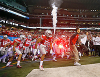 Ohio State Buckeyes take the field before their game against Wisconsin Badgers in the 2014 Big Ten Football Championship Game at Lucas Oil Stadium in Indianapolis, Ind. on December 6, 2014.  (Dispatch photo by Kyle Robertson)