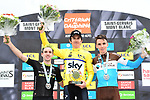 Geraint Thomas (WAL) Team Sky overall winner with Adam Yates (GBR) Mitchelton-Scott in 2nd place and Romain Bardet (FRA) AG2R La Mondiale 3rd place the 2018 Criterium du Dauphine 2018 at the end of Stage 7 running 136km from Moutiers to Saint Gervais Mont Blanc, France. 10th June 2018.<br /> Picture: ASO/Alex Broadway | Cyclefile<br /> <br /> <br /> All photos usage must carry mandatory copyright credit (© Cyclefile | ASO/Alex Broadway)