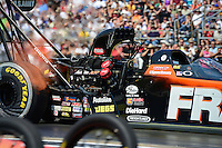 Sept. 22, 2012; Ennis, TX, USA: NHRA top fuel dragster driver Spencer Massey during qualifying for the Fall Nationals at the Texas Motorplex. Mandatory Credit: Mark J. Rebilas-