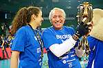 Halle/Westfalen, Germany, March 01: Player and fan of Allianz MTV Stuttgart pose with the trophy after defeating Ladies in Black Aachen to win the Volleyball DVV-Pokalfinale (Damen) on March 1, 2015 at the Gerry Weber Stadion in Halle/Westfalen, Germany. Final score 2-3 (25-17, 25-20, 19-25, 19-25, 13-15). (Photo by Dirk Markgraf / www.265-images.com) *** Local caption ***
