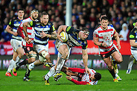 Henry Thomas of Bath Rugby gets past Greig Laidlaw of Gloucester Rugby. Aviva Premiership match, between Gloucester Rugby and Bath Rugby on March 26, 2016 at Kingsholm Stadium in Gloucester, England. Photo by: Patrick Khachfe / Onside Images