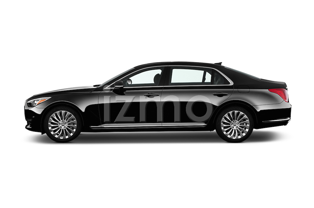 Car Driver side profile view of a 2017 Genesis G90 Ultimate 4 Door Sedan Side View
