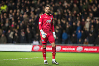 Goalkeeper Jordan Archer of Millwall during the Johnstone's Paint Trophy Southern Final 2nd Leg match between Oxford United and Millwall at the Kassam Stadium, Oxford, England on 2 February 2016. Photo by Andy Rowland / PRiME Media Images.