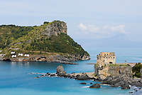 Italy, Calabria, Praia a Mare: popular resort at Riviera dei Cedri, tower, ruin and island Isola di Dino