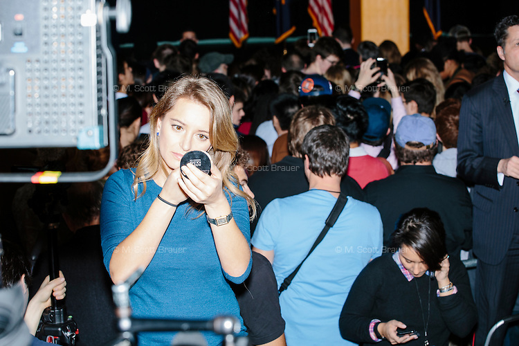 NBC News correspondent Katy Tur applies makeup before a broadcast before real estate mogul and Republican presidential candidate Donald Trump speaks at a rally at Exeter Town Hall in Exeter, New Hampshire, on Thurs., Feb. 4, 2016.