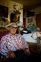 "Charles ""Gene"" Barnard, 92, of Malta, Montana.  Barnard has been a cattle rancher in the area for 64 years after returning from the Marines to help his short-staffed father with the operation.  Barnard is a neighbor to the American Prairie Foundation's preserve land, privately purchased parcels of ranchland bought with the intention of restoring biodiversity to the Montana Prairie.  Part of that mission includes returning bison and black footed ferret to the land, removing fences and structures, and natual cycle that better mimics a pre-settlement era."