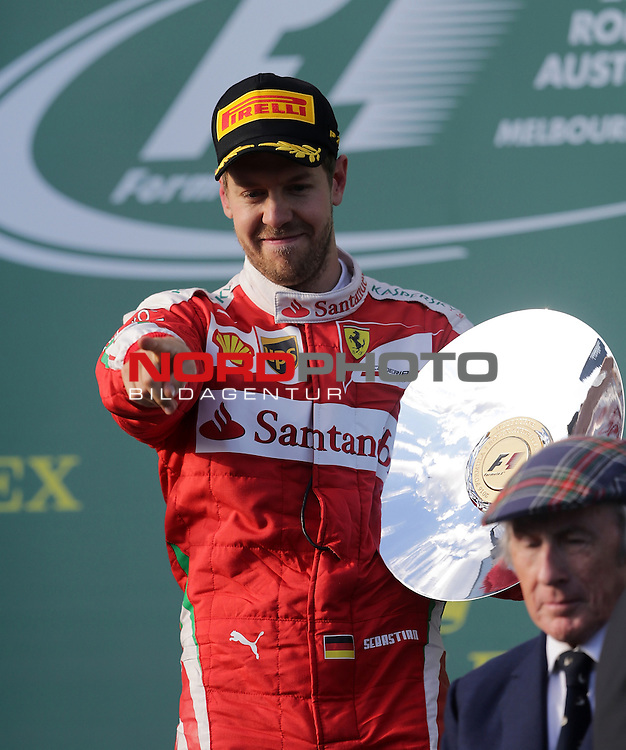 20.03.2016. Albert-Park-Circuit, Melbourne,  AUS, F1, Formula 1 Rolex Australien Grand Prix,  Race01 im Bild   <br /> Podium:<br /> 3.Platz f&uuml;r Sebastian Vettel (GER#5), Scuderia Ferrari<br /> <br /> <br /> Foto &copy; nordphoto /  Bratic