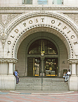 Washington D.C. : Old Post Office, 1897. Entrance--Pennsylvania Ave. Architect Willoughby Edbrook. Romanesque Revival style. National Historic Register since 1973 and named Nancy Hanks Center in 1983. Photo '91.