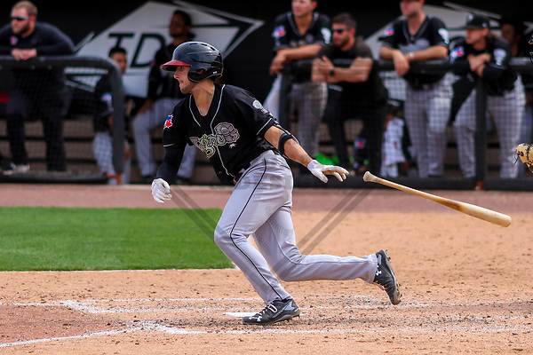 Lansing Lugnuts shortstop Kevin Smith (4) during a Midwest League game against the Wisconsin Timber Rattlers on May 8th, 2018 at Fox Cities Stadium in Appleton, Wisconsin. Lansing defeated Wisconsin 11-4. (Brad Krause/Krause Sports Photography)