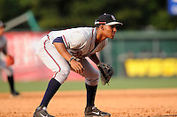 Third baseman Carlos Franco (11) of the Rome Braves in a game against the Greenville Drive on Sunday, August 3, 2014, at Fluor Field at the West End in Greenville, South Carolina. Rome won, 4-2. (Tom Priddy/Four Seam Images)