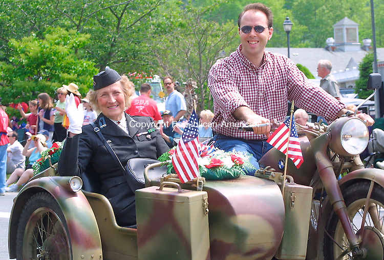 Lee Ryan rides in Remy Spezzano's sidecar the Southbury Memorial Day Parade, 27 May 2002.