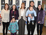 Principal Catherine Tiernan Bell, deputy principal Yvette Kelleher, teacher Cathy O'Kane with Hong, Adam and Victoria Yang and Lorraine Healy pictured at the open day at Scoil Oilibhear Naofa. Photo: Colin Bell/pressphotos.ie
