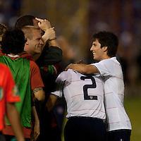 US Men's National Team surround Frankie Hejduk after his goal