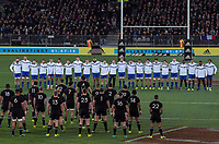The All Blacks prepare to perform a haka before the Steinlager Series international rugby match between the New Zealand All Blacks and France at Forsyth Barr Stadium in Wellington, New Zealand on Saturday, 23 June 2018. Photo: Dave Lintott / lintottphoto.co.nz