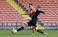 Blackpool's John O'Sullivan sees his first half shot saved thanks to the defensive attentions of Barnsley's Liam Lindsay<br /> <br /> Photographer Rich Linley/CameraSport<br /> <br /> The EFL Sky Bet League One - Blackpool v Barnsley - Saturday 22nd December 2018 - Bloomfield Road - Blackpool<br /> <br /> World Copyright &copy; 2018 CameraSport. All rights reserved. 43 Linden Ave. Countesthorpe. Leicester. England. LE8 5PG - Tel: +44 (0) 116 277 4147 - admin@camerasport.com - www.camerasport.com