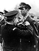 An unidentified French Officer presents Colonel Jimmy Stewart with the Corps de Guerre with palm for valor in battle.  At the time Stewart received this award, he was serving at the 2nd Division Chief of Staff for Headquarters 8th Air Force located at High Wycombe, England..Stewart died on July 2, 1997 from a blood clot in his lung. .Credit: U.S. Air Force via CNP