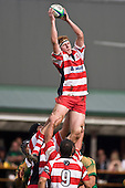 Andrew McConchie is lifted high infront of the clubhouse to claim lineout ball. Counties Manukau Premier Club Rugby game between Drury & Karaka played at the Drury Domain on Saturday April 26th, 2008..Karak won the game 30 -6 after leading 8 -3 at halftime.