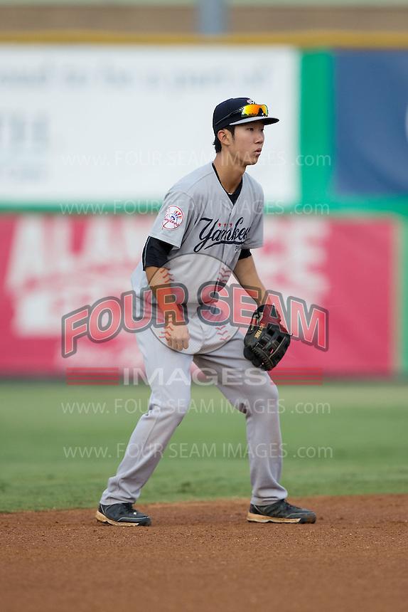 Pulaski Yankees shortstop Hoy Jun Park (34) on defense against the Burlington Royals at Burlington Athletic Park on August 6, 2015 in Burlington, North Carolina.  The Royals defeated the Yankees 1-0. (Brian Westerholt/Four Seam Images)