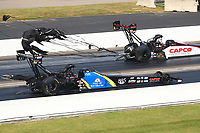 Sep 4, 2017; Clermont, IN, USA; NHRA top fuel driver Ashley Sanford (near) alongside Steve Torrence during the US Nationals at Lucas Oil Raceway. Mandatory Credit: Mark J. Rebilas-USA TODAY Sports