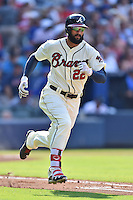Atlanta Braves right fielder Nick Markakis (22) runs to first during a game against the Chicago Cubs at Turner Field on June 11, 2016 in Atlanta, Georgia. The Cubs defeated the Braves 8-2. (Tony Farlow/Four Seam Images)