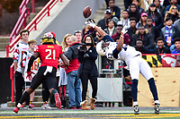 College Park, MD - NOV 11, 2017: Penn State Nittany Lions wide receiver Saeed Blacknall (13) reaches over his head for a pass just out of his reach during game between Maryland and Penn State at Capital One Field at Maryland Stadium in College Park, MD. (Photo by Phil Peters/Media Images International)