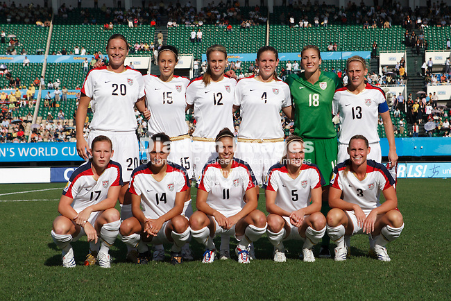 CHENGDU, CHINA - SEPTEMBER 14:  The United States starting eleven lines up prior to the start of a FIFA Women's World Cup group B soccer match against Sweden September 14, 2007 in Chengdu, China.  Back, l-r:  Abby Wambach, Kate Markgraf, Leslie Osborne, Cat Whitehill, Hope Solo, Kristine Lilly.  Front, l-r:  Lori Chalupny, Stephanie Lopez, Carli Lloyd, Lindsay Tarpley, Christie Rampone.  (Photograph by Jonathan P. Larsen)