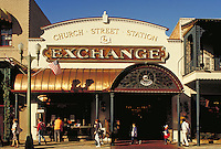 The exterior facade of the Church Street Station Exchange in Orlando, Florida. This commercal district is a lively new area of shops & restaurants in the old Railroad station restoration project. urban design, renewal, regentrification, architecture, ,. F