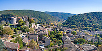 France, Tarn et Garonne, Quercy, Bruniquel, labelled Les Plus Beaux Villages de France (The Most beautiful Villages of France), village built on a rock overhanging the confluence of Vere and Aveyron river (aerial view) // France, Tarn-et-Garonne (82), Quercy, Bruniquel, labellisé Les Plus Beaux Villages de France, village bâti sur un piton rocheux surplombant le confluent de la Vère et de l'Aveyron (vue aérienne)