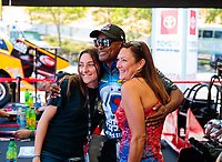 Jul 26, 2019; Sonoma, CA, USA; NHRA fans meet Antron Brown at the Toyota Racing Experience during qualifying for the Sonoma Nationals at Sonoma Raceway. Mandatory Credit: Mark J. Rebilas-USA TODAY Sports