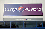 Shop sign for combined Currys and PC World store at Copdock, Ipswich, Suffolk, England