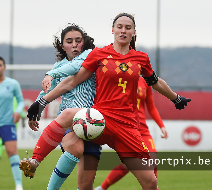 20190206 - TUBIZE , BELGIUM : Belgian Lea Cordier (R) and Dutch Ilham Abali (L) pictured during the friendly female soccer match between Women under 17 teams of  Belgium and The Netherlands , in Tubize , Belgium . Wednesday 6th February 2019 . PHOTO SPORTPIX.BE DIRK VUYLSTEKE