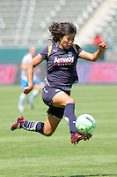 Han Duan #9 of the Los Angeles Sol stops a pass in mid-air against the defense of the Boston Breakers during thier WPS game at Home Depot Center on May 10, 2009 in Carson, California.