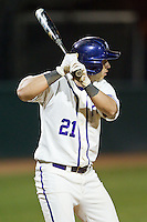 Josh Spano (21) of the High Point Panthers at bat against the Coastal Carolina Chanticleers at Willard Stadium on March 15, 2014 in High Point, North Carolina.  The Panthers defeated the Chanticleers 11-8 in game two of a double-header.  (Brian Westerholt/Four Seam Images)
