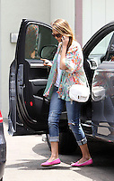 Jessica Alba wore a beautiful summerly floral print blouse with a white cross body bag, distressed jeans and pink flats while out running some errands. Los Angeles, California on 11.6.2012..Credit: Correa/face to face.. /MediaPunch Inc. ***FOR USA ONLY*** NORTEPHOTO.COM<br /> <br /> NORTEPHOTO.COM