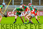 Lixnaws Shane McElligott in possession against Crotta O'Neills in the U21 County Hurling Championship Final in Austin Stack Park on Saturday.