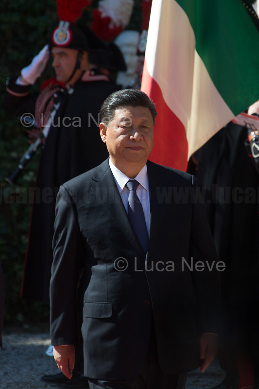 """Rome, 23/03/2019. The President of the People's Republic of China (General Secretary of the Communist Party of China, and Chairman of the Central Military Commission), Xi Jinping, meets the Italian Prime Minister Giuseppe Conte at Villa Madama during the second day of a three-day State visit to Italy. After the arrival of Xi Jinping greeted with the full honours at the splendid Renaissance Villa designed by Raffaello Sanzio, the Chinese delegation and the Italian delegation led by the Luigi Di Maio (Deputy Prime Minister, Minister of Economic development, Labour and Social Policies, and leader of the Five Star Movement) signed a memorandum of understanding - 29 separate protocols - supporting the """"Belt and Road"""" initiative (part of the """"New Silk Road Project"""") as the first of the Seven major economies in the world. Luigi Di Maio stated that """"the value of individual deals signed amounts to about 2,5 billion euros, with the potential to grow to about 20 billion euros""""."""