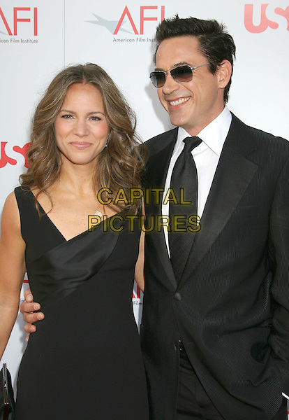 SUSAN LEVIN & ROBERT DOWNEY JR..36th AFI Life Achievement Award tribute to Warren Beatty held at the Kodak Theatre, Hollywood, California, USA, .12 June 2008..half length sunglasses black tie suit dress married couple husband wife.CAP/ADM/MJ.©Michael Jade/Admedia/Capital Pictures