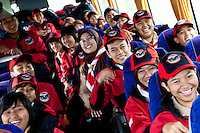 Happy Indonesian contingent full of anticipation on the last stop before arriving to the camp-site. Photo: Kim Rask/Scouterna