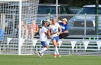 Kansas City, MO - Sunday August 28, 2016: Kristie Mewis celebrates scoring, Kyah Simon during a regular season National Women's Soccer League (NWSL) match between FC Kansas City and the Boston Breakers at Swope Soccer Village.