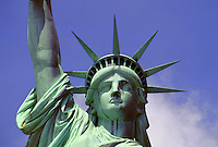 Detail image of the head and shoulders of the Statue of Liberty. New York.