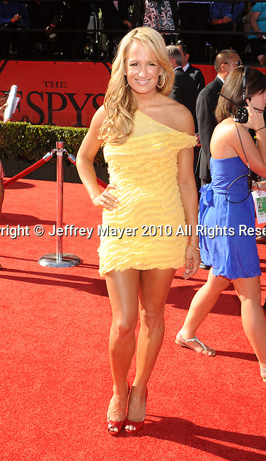 LOS ANGELES, CA. - July 14: ESPN talent Jenn Brown  arrives at the 2010 ESPY Awards at Nokia Theatre L.A. Live on July 14, 2010 in Los Angeles, California.
