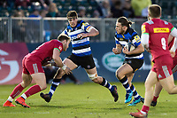 Max Clark of Bath United in possession. Aviva A-League match, between Bath United and Harlequins A on March 26, 2018 at the Recreation Ground in Bath, England. Photo by: Patrick Khachfe / Onside Images